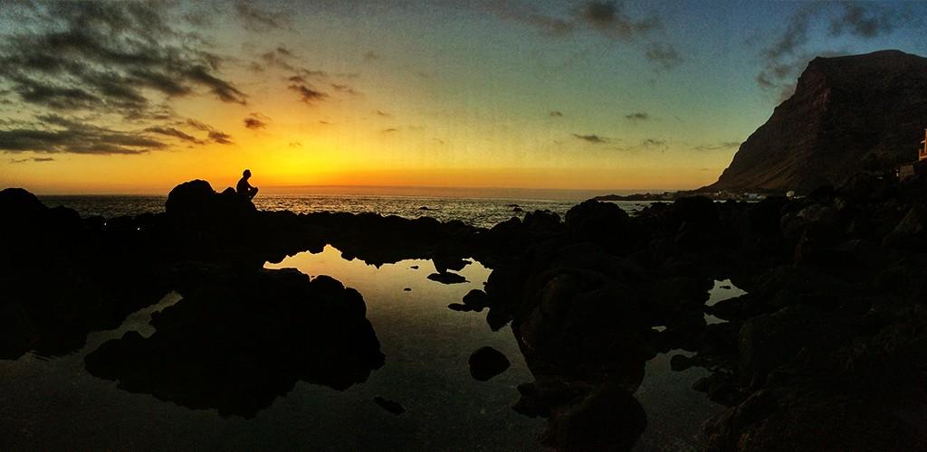 Puesta de sol, playa, La Puntilla, Valle Gran rey, La Gomera