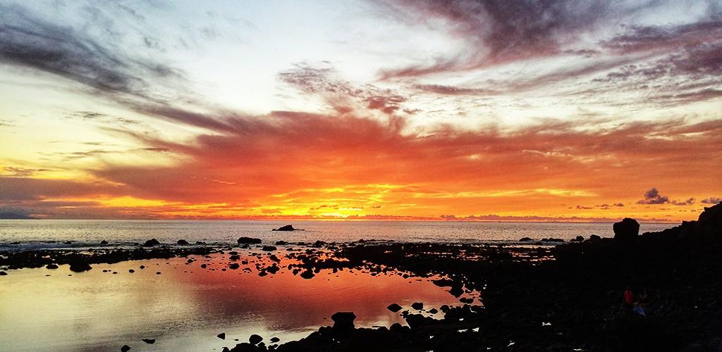 Puesta de sol, La Condesa, Valle Gran Rey, Surf, Playa, Volcanica