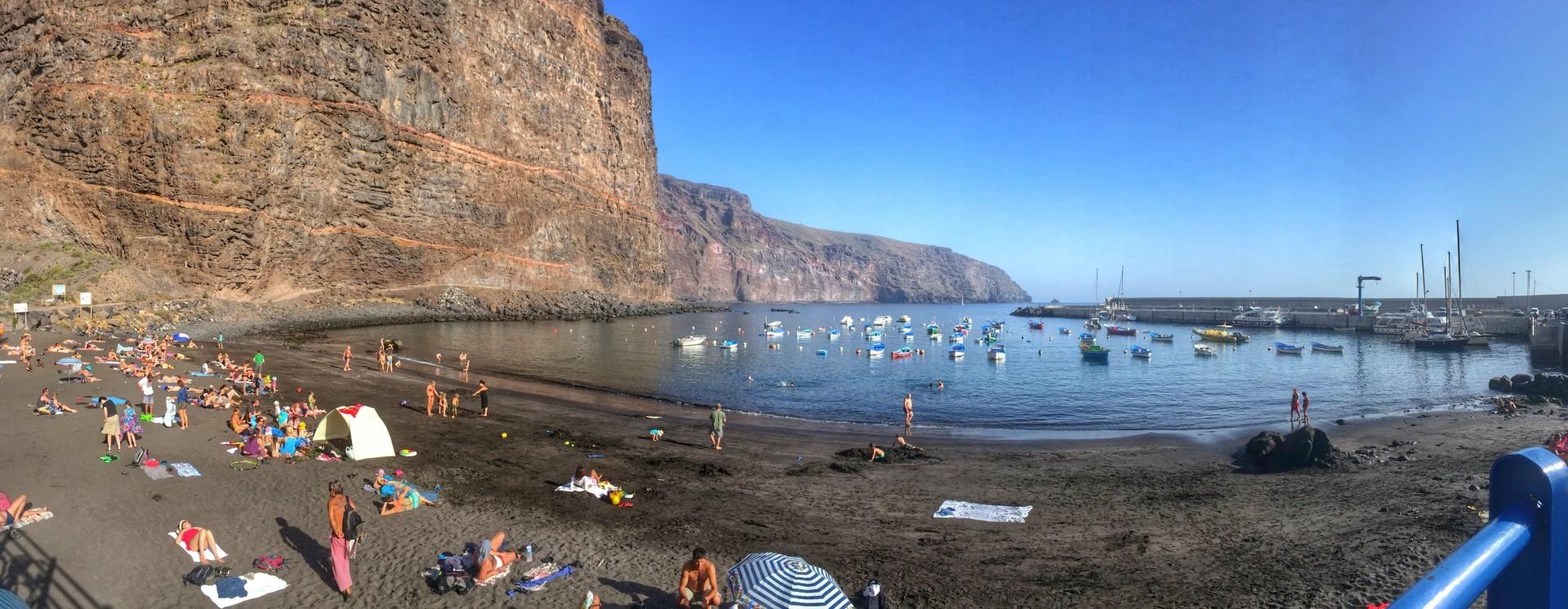 Playa de Vueltas, Puerto de Vueltas, valle Gran Rey, Playa, Arena Negra, ocio, actividades, La Gomera, pesca, nautica