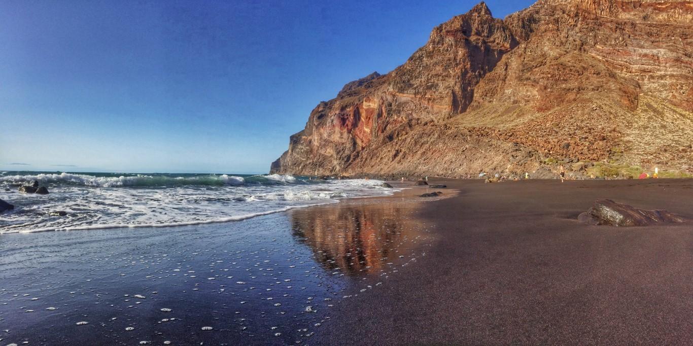 Playa del Inglés, La Gomera, valle Gran rey, Islas canarias, arena negra